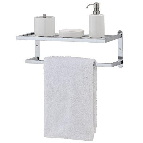 on sale Modern Chrome Plated Wall Mounted Bathroom Storage Shelf & Towel Rack Bar - MyGift