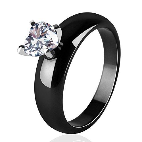 Tuhe CZ Crystal Ceramic Rings, White Heart Shape Healthy Ceramic Engagement Ring for Women