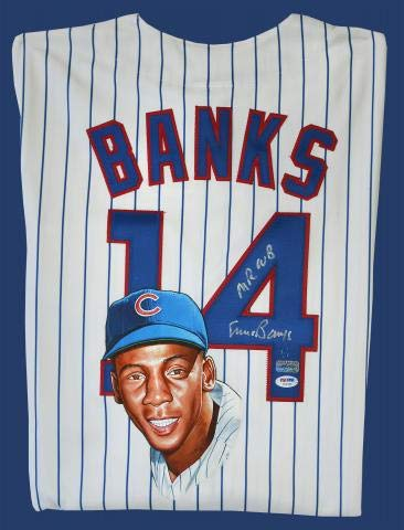 Ernie Banks Signed & Hand Painted Authentic Cubs Jersey (Painted Bank)