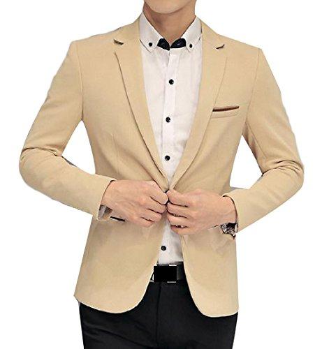 Abetteric Mens Delicate Plus Size Long Sleeve Slim Fit Suit Jacket Coat