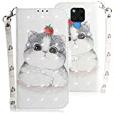 WIWJ Compatible with Huawei Mate 20X Case,3D Embossed Lanyard Flip PU Leather Case with Card Holder for Girls Kickstand Ultra Slim Fit Protective Shockproof Case Cover for Huawei Mate 20X-Cute Cat