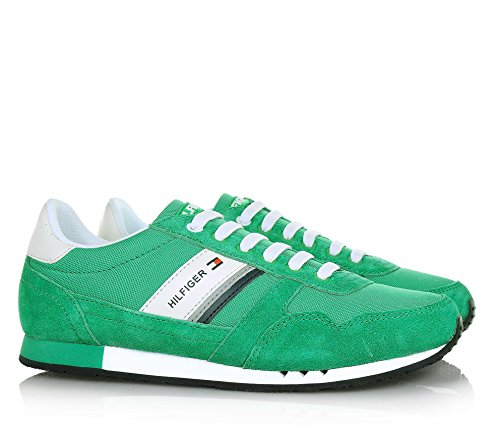 TOMMY HILFIGER - Grüner Schuh mit Schnürsenkeln aus Spaltleder und Stoff mit weißen Ledereinsätzen, Jungen