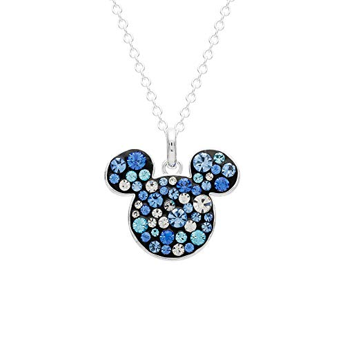 (Disney Mickey Mouse Jewelry for Women and Girls, Silver Plated Pave Crystal Pendant Necklace, Mickey's 90th Birthday Celebration)