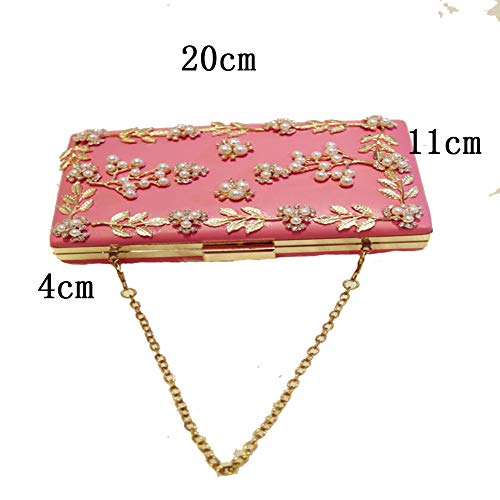 LHJ Borsa Fiore E Dinner Onesize Dating Materiale Perla High Donna Pu Pink End Borsa Da Diagonale Catena Strass Pochette Borsa Tracolla Perla Foglia Da Ball Party Moda rBYqZarxw