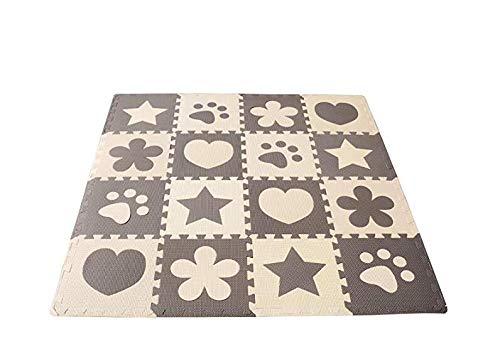 Estera de juego de espuma suave de Tuniya Estera de ejercicio Juego de alfombra de rompecabezas Grueso de espuma de EVA para ni/ños Conjunto de azulejos entrelazados Ideal para los ni/ños peque/ños
