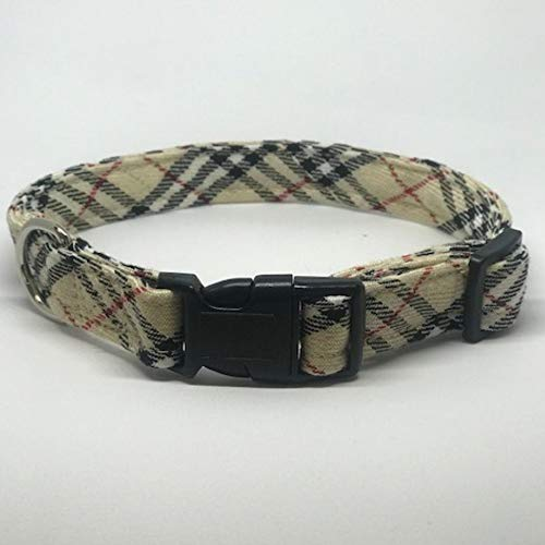 Three Boys of Scottsdale Pet Boutique Tan Plaid (Burberry Like) Dog Collar XXL 13-26 inches x 1 inch Wide (Boutique Dog Collars)
