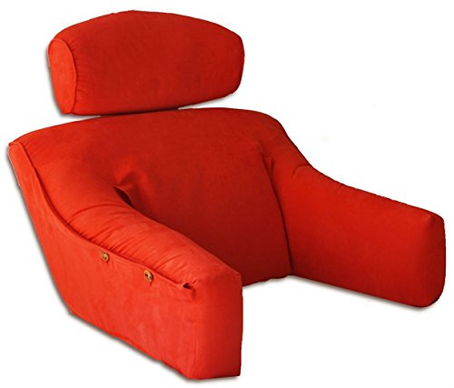Vibrant Red MicroSuede Bedlounge Reading Pillow - Reading in Bed, in Deep Couches, Watching TV & Reading - SMALL for people under 5'3