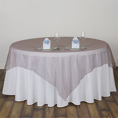 BalsaCircle 5 pcs 72x72-Inch Mauve Sheer Organza Table Overlays - Wedding Reception Party Catering Table Linens Decorations