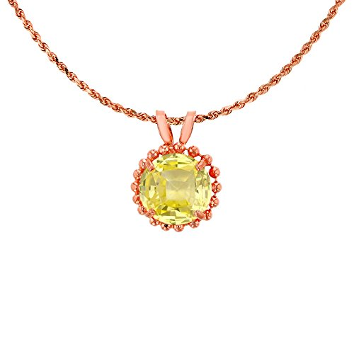 10K Rose Gold 6mm Round Cut Created Yellow Sapphire with Bead Frame Rabbit Ear 18