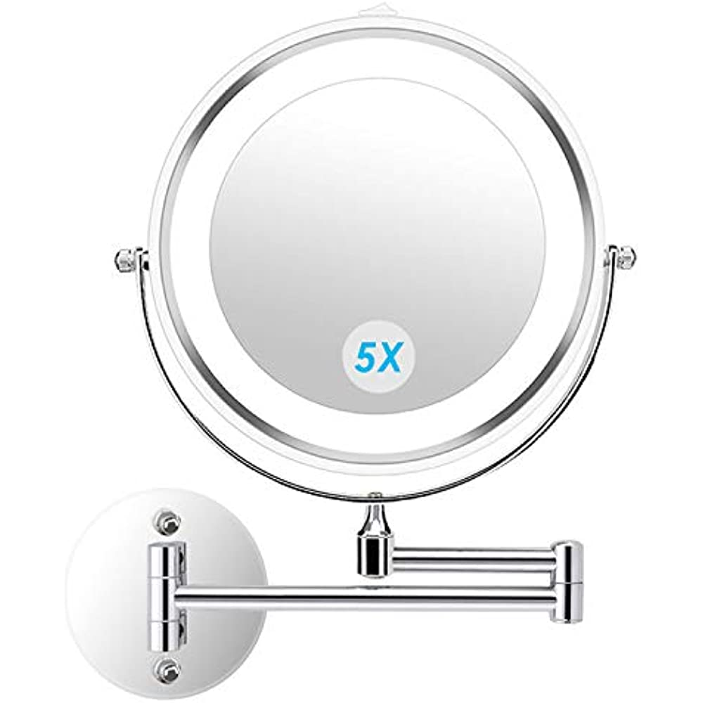 Wall Mounted Magnifying Makeup Mirror.Details About Wallmounted Mirrors Wall Makeup Led Lighted 5x Magnifying Cosmetic 360 Swivel By