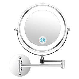 alvorog Wall Mounted Makeup Mirror LED Lighted Dou...