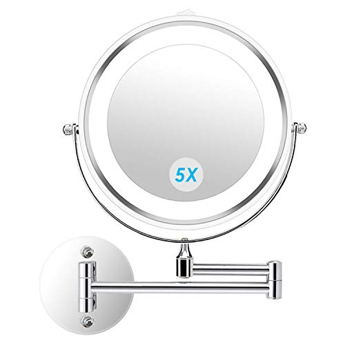 alvorog Wall Mounted Makeup Mirror LED Lighted Double Sided 5X Magnification 360° Swivel Extendable Cosmetic Vanity Mirror for Bathroom Hotels, Powered by 4 x AAA Batteries (Not Included)
