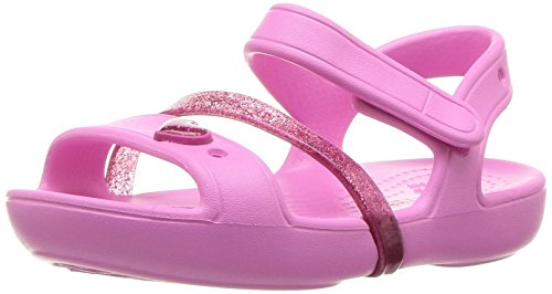 crocs Girls' Lina K Sandal, Party Pink/Candy Pink, 11 M US Little Kid
