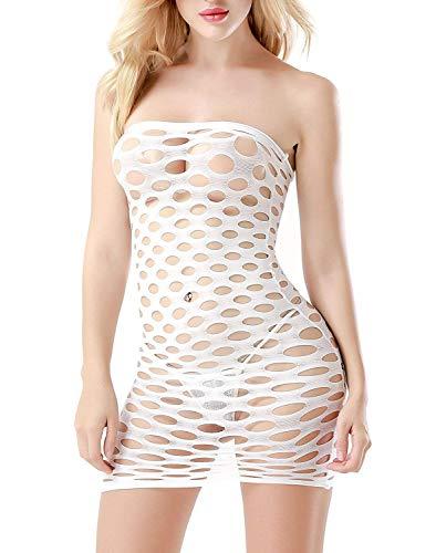 HiSexy Sheer Net Bodysuit Dress Sleepwear for Women One Piece Sexy Chemise Babydoll Lingerie White - Net Tube Dress