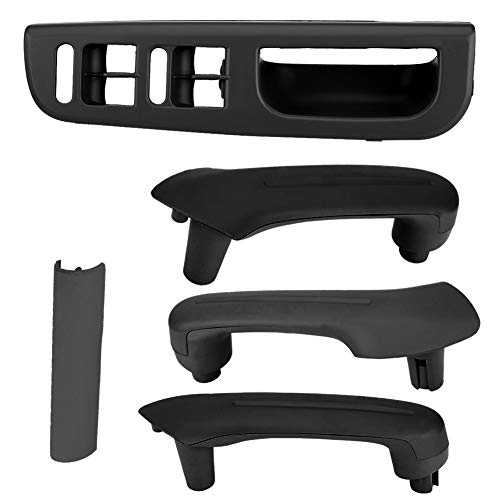 Jetta Left Door Rear (Front Left Master Window Switch Control Panel Kit- Interior Door Front & Rear Right, Rear Left Grab Handle for VW Jetta Golf MK4(Black))