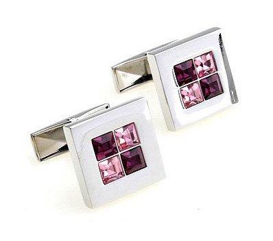Pink & Purple Austria Crystal Cufflink with Gift Box 011