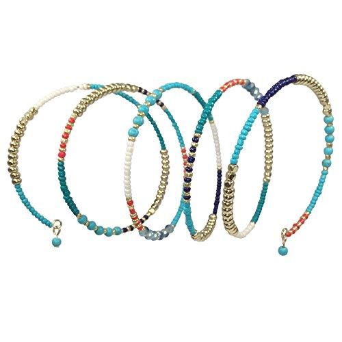 Multi Color Seed Bead Boho Bohemian Style Wrap Around Bracelet (Aqua Blue)