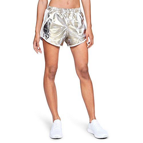 Under Armour Women's Fly-By Perforated Shorts, Metallic Cristal Gol (996)/Reflective, X-Large ()