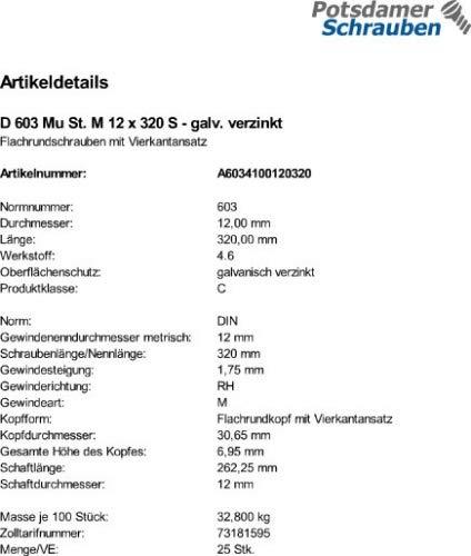 25 Schlo/ßschrauben Mutter DIN 603 verzinkt M12x320