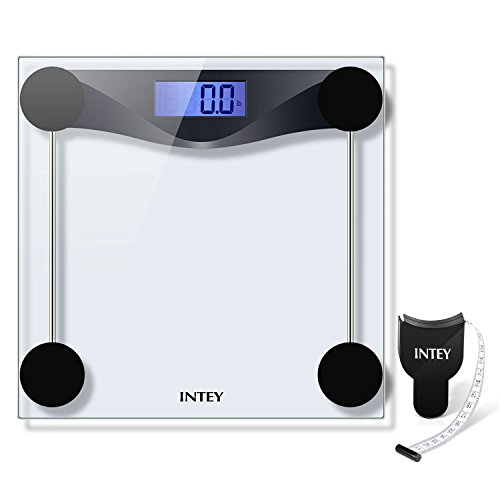 INTEY Digital Body Weight Bathroom Scale Tempered Glass 400 Pounds Scales with Body Tape Measure