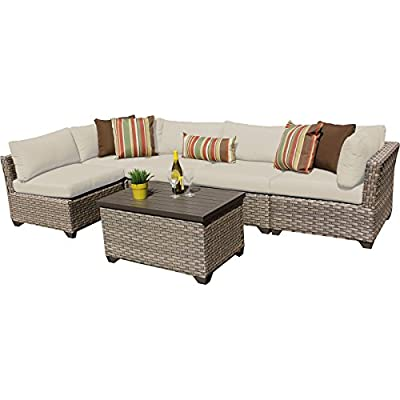 TK Classics Monterey 6 Piece Outdoor Wicker Patio Furniture Set 06a, Beige - FULLY ASSEMBLED - Seating area is ready to use and enjoy with family and friends Cushions - Easy Care plush cushions for a luxurious look and feel Cushion Covers - Washable and zippered for easy cleaning (air dry only) - patio-furniture, patio, conversation-sets - 41g90ucHXjL. SS400  -