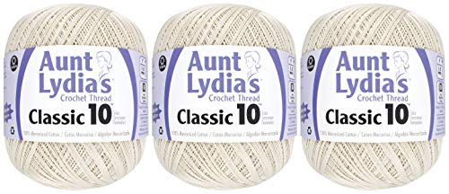 3-Pack - Aunt Lydia's Classic Crochet Thread - Natural - Size 10 Value Pack - 1000 Yards Each by Aunt Lydia