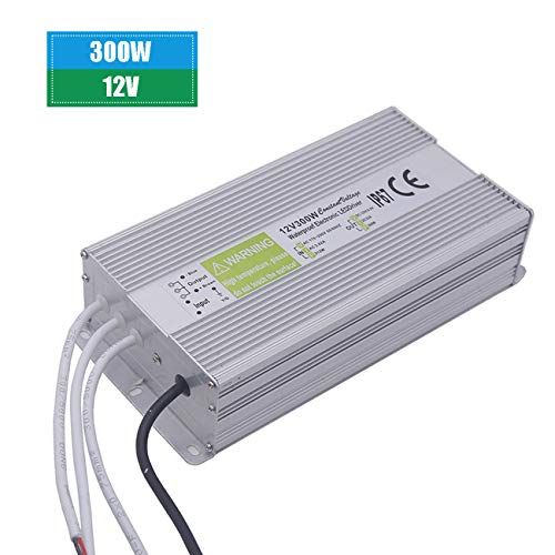 12V LED Driver,IP67 Waterproof LED Transformer 300W LED Power Supply Driver Transformer Adapter to 12 Volt DC Output, 90V-250V/25A for LED Light, Computer Project, Outdoor Light