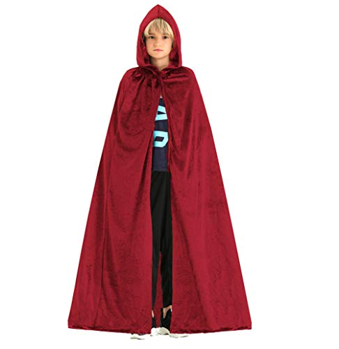 Hsctek Kids Red Cape Costume,Childrens Wine Red Cloak with Hood,Velvet Halloween Lined Hooded Cape