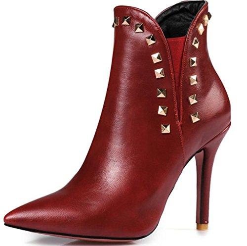 KUKI otoño botas botas de tacón alto botas botas baratas botas botas botas ocasionales scarlet