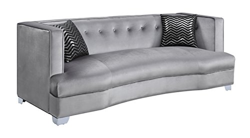 - Caldwell Velvet Sofa Silver and Chrome