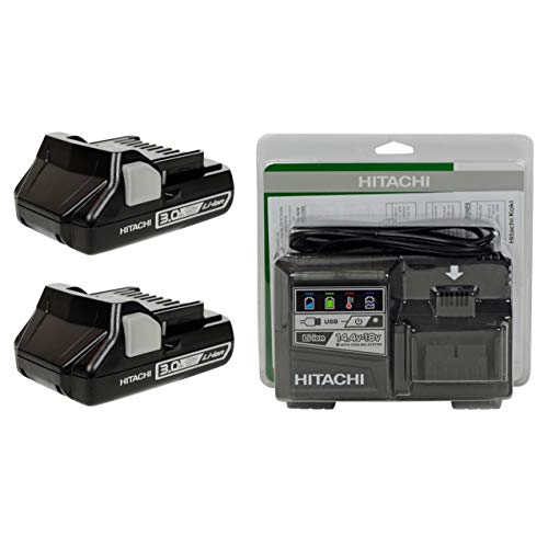 Hitachi UC18YSL3 18V Lithium Ion Battery Charger and (2) BSL1830C (#339782) 18V 3.0Ah Batteries