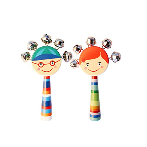 TOYMYTOY Musical Rattle Bells Jingle Rattle Preschool Toys Smile Rainbow Wooden Handle Stick Shaker for Baby Kids 2PCS (Random Color)