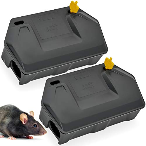 Rat Bait Station 2 Pack - Rodent Bait Station with Key Eliminates Rats Fast. Keeps Children and Pets Safe (2 Pack) (Bait not Included) (Bait Poison Rat)