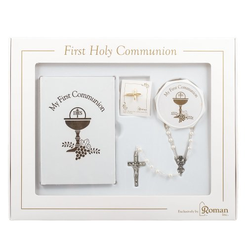 First Holy Communion Gift Set for Girl with Common Prayers Book, Rosary, Box and Pin -