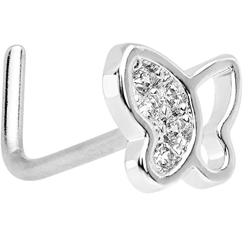 Butterfly Nose Rings - Body Candy Stainless Steel Clear Accent Butterfly L Shaped Nose Stud Ring 20 Gauge 1/4