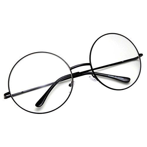 grinderPUNCH - Non-Prescription Round Circle Frame Clear Lens Glasses Large Black