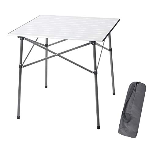 PORTAL Lightweight Aluminum Folding Square Table Roll Up Top 4 People Compact Table with Carry Bag For Camping, Picnic, Backyards, BBQ (White) (Person Four Table)