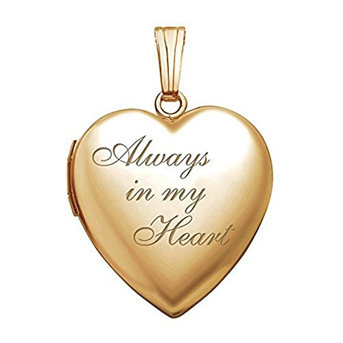 4K Solid Yellow Gold/14K Yellow Gold Filled Always in My Heart Locket - (3/4 X 3/4 Inch) WITH ENGRAVING (Photo Engraved Heart)