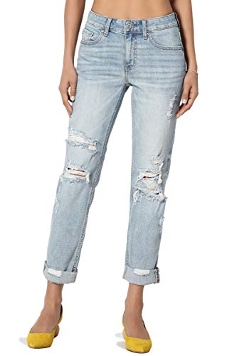 TheMogan Women's Distressed Straight Relaxed Roll Up Girlfriend Jeans Light 11