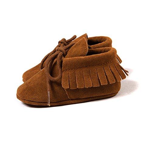 etrack-online Infant Boys Fringe de piel sintética ante cordones mocasín zapatos de cuna, Rosa, 12-18 meses marrón