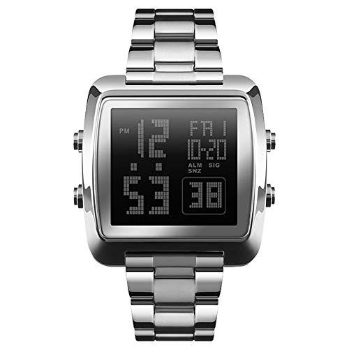 (dzsntsmgs Men Luminous Digital Display Dual Time Alarm Date Electronic Quartz Wrist Watch - Silver Digital Display, Square Shape,)