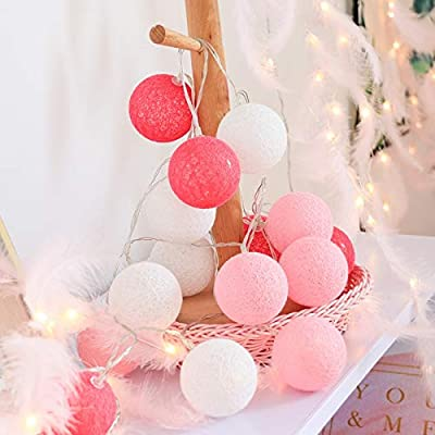 Indoor String Lights- 10/20 LED Cotton Ball String Lights Battery Garland Balls lamp Warm White Indoor Outdoor Decoration Holiday Globe Lighting Chain