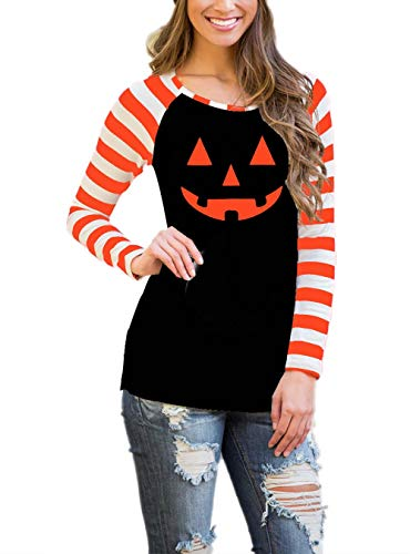 DREAGAL Halloween Pumkins Long Sleeve Top Sweatshirt for Juniors XL