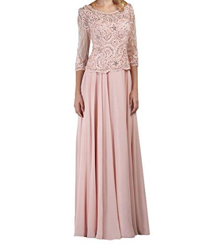 A Rock Rosa Linie Rosa Ballkleider Abendkleider Damen Langes Charmant Brautmutterkleider Festlichkleider Spitze Langarm qxFOzA