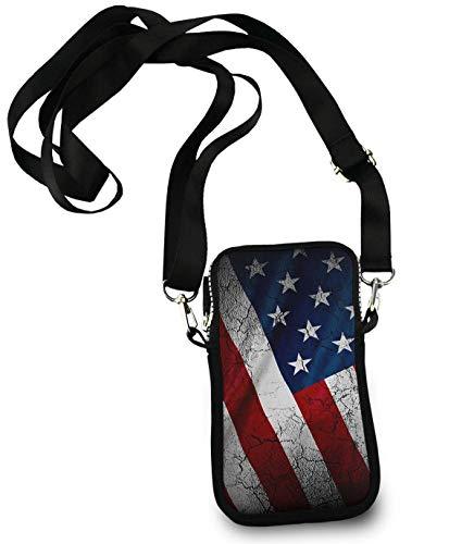 Price comparison product image American USA Flag Crack Iphone Camping Multipurpose Crossbody Bag - Passport,  Card Adjustable Shoulder Strap,  Document Organizer Wristlet Convertible Cross Body Bag