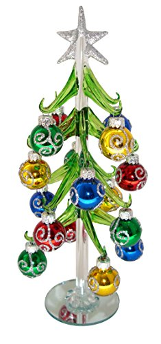 Red Carpet Studios Miniature Glass Christmas Tree with 16 Silver Glitter Ornaments Art Glass Christmas Tree Ornament