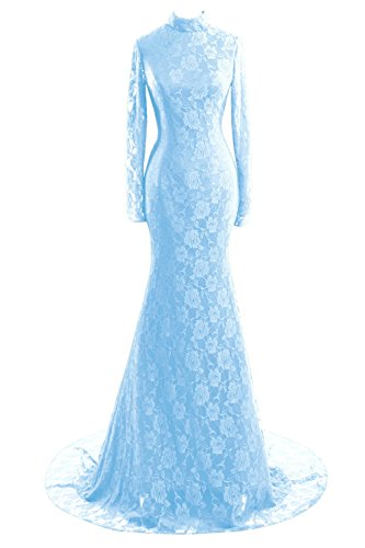 Long Women's Sky Mermaid Blue Lace High Sleeves Prom Bridal Bess Evening Neck Dresses nwxTqI5B5