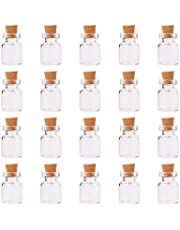 PH PandaHall 20 Pcs Mini Tiny Clear Glass Jars Bottles Cork Stoppers Eye Pins Crafts Projects Size 10x18mm 22x15mm in Box Set