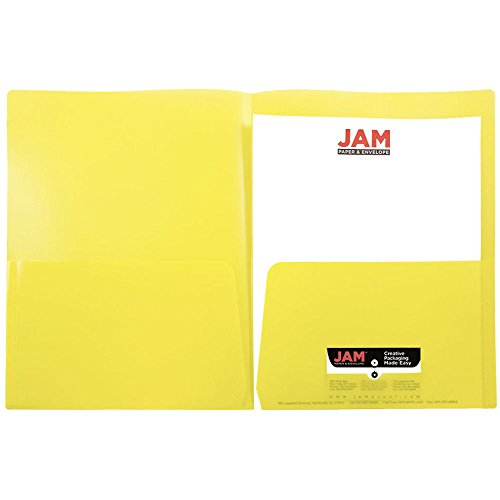 JAM Paper Plastic Regular Weight Two Pocket Presentation School Folder - Yellow - 108/pack by JAM Paper