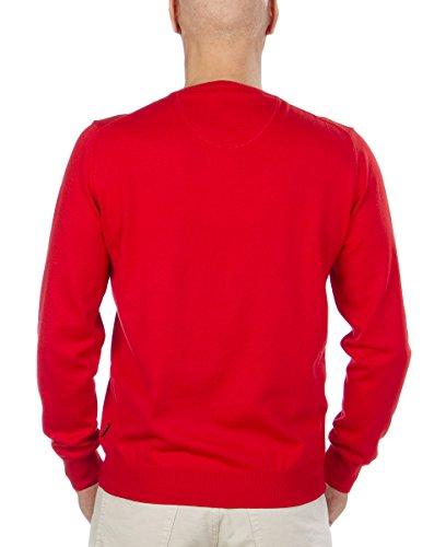 FYNCH HATTON Herren Pullover Rundhals Ausschnitt O-Neck Smart Cotton Cashmere 141-245-133 red/rot